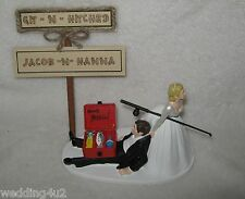 Wedding Party Reception Git n Hitched Sign Fishing Pole Tackle Box Cake Topper
