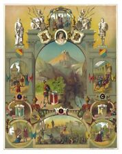Rare Antique 1886 Knights of Pythias Chart Art Print Poster ring