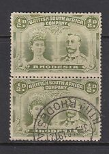 Rhodesia 1910 1/2d Half penny Dull green SG 122 vertical pair fine Used