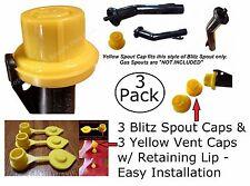 Combo Pack 3 BLITZ Yellow Spout Caps 3 Vent Caps FIX YOUR GAS CAN 6pcs total NEW