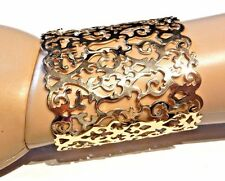 GOLD METAL DAMASK CUFF cutout sheet bracelet ornate gothic goddess bangle new R3