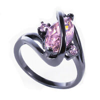 Jewelry Women's Wedding Ring Size 6-9 Pink Sapphire 10Kt Black Gold Filled Gift