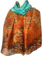 Orange Silk Scarf Turquoise Blue100% Pure Silk Ladies Large Abstract Print Scarf