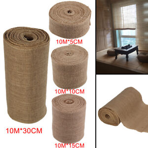 4 Sizes 10M Burlap Ribbon Roll Hessian Jute Fabric Rustic Wedding Party Décor