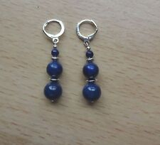 LAPIS LAZULI  medium  drop EAR RINGS St Silver Gift wrapped