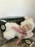 "GEPPEDDO CUDDLE KIDS Betsy Sleeping Bunny 8"" Plush Porcelain Face Doll Easter"
