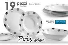 SERVIZIO PIATTI TONDI PORCELLANA DECORO POIS GRIGIO 19 PZ ELI-723339