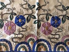 Antique Silk Embroidered Fragment Trims Dolls Costume Victorian Art Salvage Cut