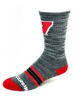 For Bare Feet Wisconsin Badgers Charcoal RMC Four Stripe Foot Deuce Crew Socks