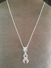 """NECKLACE PINK CZ Breast Cancer Awareness SILVER Ribbon Dangle Charm pendant 18"""""""