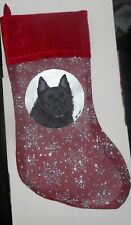 Schipperke Dog Hand Painted Christmas Gift Stocking Holiday Decoration