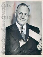 1952 Us Senator Kansas Governor Frank Carlson Press Photo