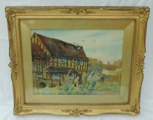 Signed Watercolour of a Cottage Garden 1917 - by H E Cox (1869-1941)
