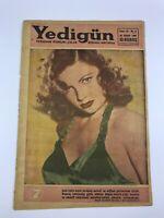 YEDIGUN #6 Turkish Magazine 1950s JOAN LESLIE COVER Elizabeth Taylor MEGA RARE