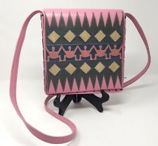 RARE 80s MILLE FIORI Pink Leather Reptile Shoulder Bag Cross Body Purse ITALY