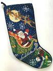 20' Wool Needlepoint Xmas Stocking Santa Reindeer Sleigh Velvet Back Hand Stitch