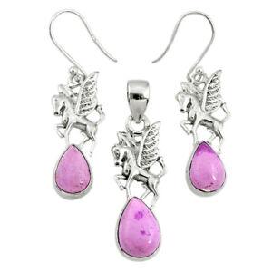 7.37cts Natural Phosphosiderite (hope Stone) Silver Pendant Earrings Set R70012