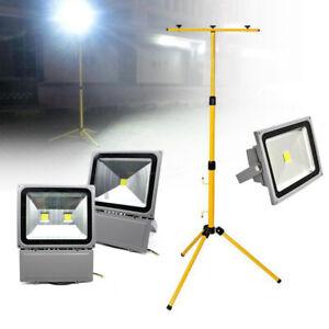 50-200W LED Baustrahler Spot Außenleuchte Flutlicht Scheinwerfer Stativ Neu