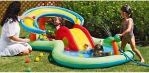 Chad Valley Kids Splash Paddling Pool Activity Pool Play Centre with Mini Slide