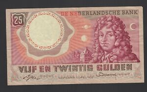 Netherlands  25 Gulden 1955  F-VF P. 87,   Banknote, Circulated