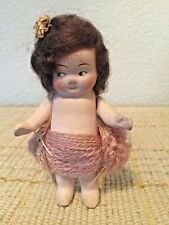 """Antique 4.5"""" Paper Mache Germany Jointed Arms Side Glancing Doll"""