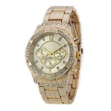 Damenuhr Gold Strass Kristallen Damen Armbanduhr Watch UVP: 69€ U1225