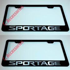 2X SPORTAGE Laser Style Black Stainless Steel License Plate Frame W/ Bolt Cap