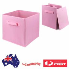 2PK Folding Fabric Cube Storage Boxes Clothes Closet Organizer Container PINK OZ