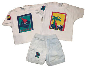 Vintage 1980s Little Levi's Toddler Boys Outfit Shirts And Shorts Made in USA 4T