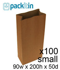 KRAFT BROWN paper small GIFT BAGS x 100 - candy bar wedding favours bomboniere