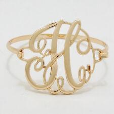 "Monogram Initial Bangle Bracelet GOLD 1.75"" Letter H Hinge Personalized Jewelry"
