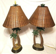 Tropical Table Lamp Palm Tree Wicker Bamboo Shade papila design vintage PAIR