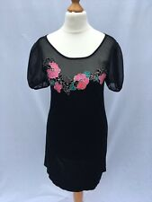 Miss Selfridge Size UK 6 Black Floral Dress Sheer Neckline Puff Sleeves XS