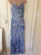 Monsoon Blue Silk/ Viscose Mix Dress Size 10 Immac Best Price Hols 25/5 To 6/6