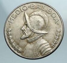 1968 PANAMA Large Spanish CONQUISTADOR Antique Silver Half BALBOA Coin i84173