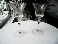 Set of 2 Clear Etched Claret Wine Glasses Seneca? c1960's