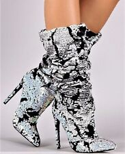 Liliana XAYA-19C Pink Black Hologram Sequin Velvet Slouchy Boot Pointy Toe