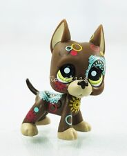 Littlest Pet Shop Brown Great Dane Dog  #1439 Puppy Tattoo Green Eyes LPS Toys