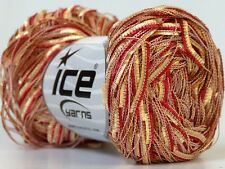 "Red & Gold Thin Butterfly Ribbon Yarn Ice 23460 50gr 1/4"" wide 218yds"