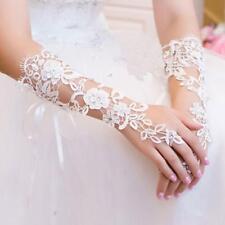 Dentelle blanche sans doigts coude Gants longs strass pour mariage Mariée