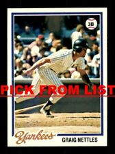 1978 Topps #250-499 EX-MT/NM Pick From List All PICTURED