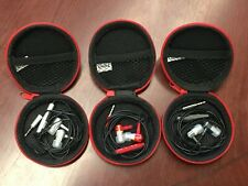 THREE  Earbuds in Zipper Pouch - 3 PACK - Red, Silver, Black