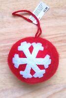 John Lewis Large Red & White Snowflake Felt Christmas Tree Bauble Decoration x 6