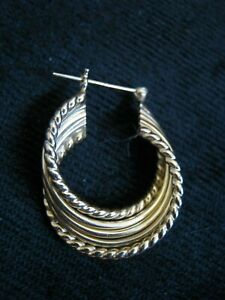 """ONE Large 1"""" Twisted Ribbon 14K Yellow Gold Cuff Earring w/ Locking Post, 2.2 gs"""