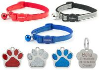 Cat Collar Ancol Reflective Gloss, Red, Blue Or Silver With 27mm Glitter Id Tag