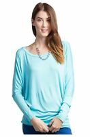 Womens Dolman Rayon Jersey Top Long Sleeve Tunic Batwing Blouse Round Neck Plain