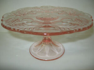 Pink Rose Glass cake serving stand plate platter pedestal thistle dessert raised