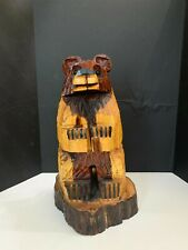 Vintage Hand Carved Wooden Tree Trunk 19.5 inch Bear