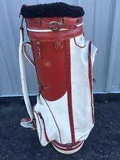 Vintage Wilson Staff Cart Golf Bag - 6-Way Divider, Single Strap, Red & White