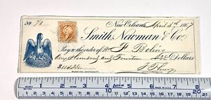 1867 Check with Mother Bird, Babies, Nest Engraving, 2 Cent Stamp New Orleans LA